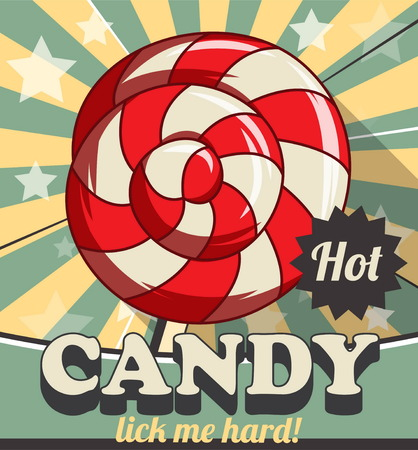 customizable: Vintage retro stylized customizable sweet lollipop candy poster template. Replace text to customize template for special offer at cafe or candy shop, use for any other design purposes. Illustration