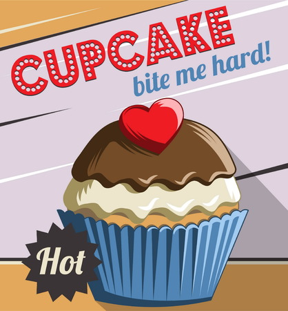 customize: Vintage retro stylized customizable sweet cupcake muffin poster template. Replace text to customize template for special offer at cafe or bakery, use for any other design purposes. Illustration