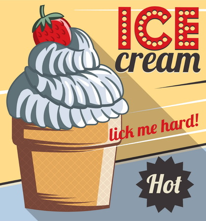 customize: Vintage retro stylized customizable sweet ice cream with strawberry poster template. Replace text to customize template for special offer at cafe or bakery, use for any other design purposes.
