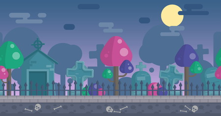 scroller: Seamless parallax effect ready spooky night graveyard background for mobile apps and design. Scary gravestones, crypt, fancy trees, sculls over the night sky. Illustration
