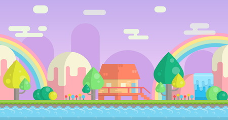 Seamless parallax effect ready fantasy mountain background for mobile apps and design. Sunny bright landscape with mountains, little house, waterfalls and river. Vectores