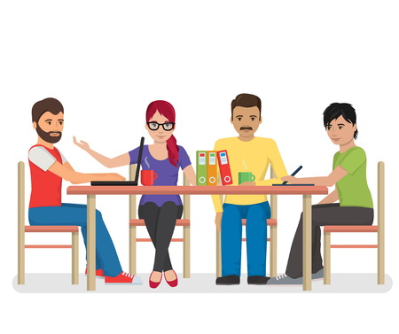 colleagues: Flat illustration of a group of hipster looking individuals around the table having a conference meeting, co-working, colleagues discussing project, brainstorming. Illustration