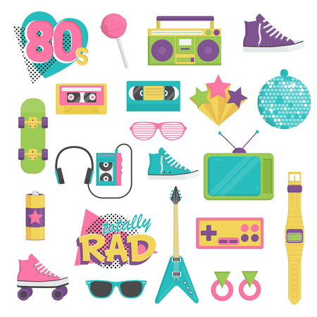 decade: Collection of vintage retro 1980s style items that symbolize the 80s decade fashion accessories, style attributes, leisure items and innovations.