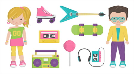 symbolize: Collection of vintage retro 1980s style boy and girl characters and items that symbolize the 80s decade fashion accessories, style attributes, leisure items and innovations.