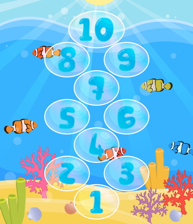 Lovely children activity play placemat rug for hopscotch game with underwater sea with ripples, corals, fish and bubbles background. Illustration