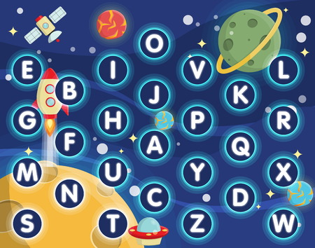 rug map: Lovely children activity play placemat rug for alphabet learning game with outer space background, lonely planets, stars, space ships and satellite.