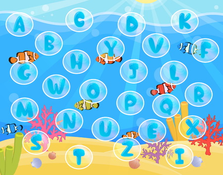 rug map: Lovely children activity play placemat rug for alphabet learning with underwater sea with ripples, corals, fish and bubbles background.