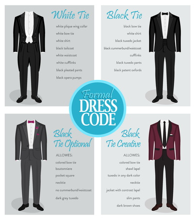 Formal dress code guide information chart for men. Suitable outfits for formal events for men. Tuxedo jacket, bowtie, patent oxford shoes and other elements. Vectores