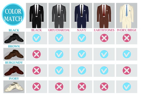 male grooming: Color mix and match guide for men suit and shoes. Suitable and appropriate color match variations for various events, formal, business, casual and other.