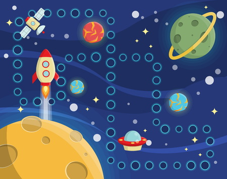 rug map: Lovely children activity play placemat rug for space racing competition game with outer space background, lonely planets, stars, space ships and satellite. Illustration