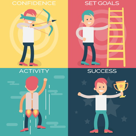 achieving: Psychology terms illustrations for achieving success in life and business. Confident person setting personal and professional goals, actively working over them and achieving success. Illustration