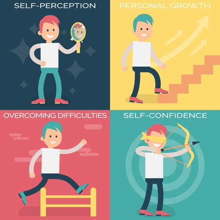 difficulties: Psychology terms illustrations for achieving success in life and business. Confident person setting personal and professional goals, working over them and overcoming difficulties. Illustration