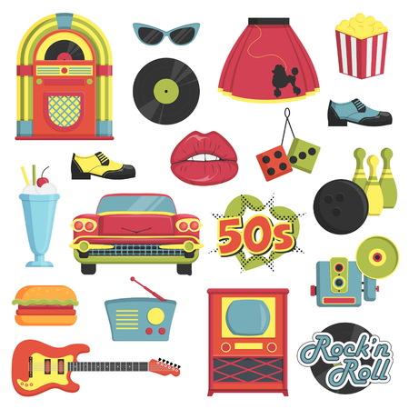 Colección de artículos de la vendimia 1950 de estilo retro que simbolizan los accesorios de moda 50s década, los atributos de estilo, artículos de ocio e innovaciones.
