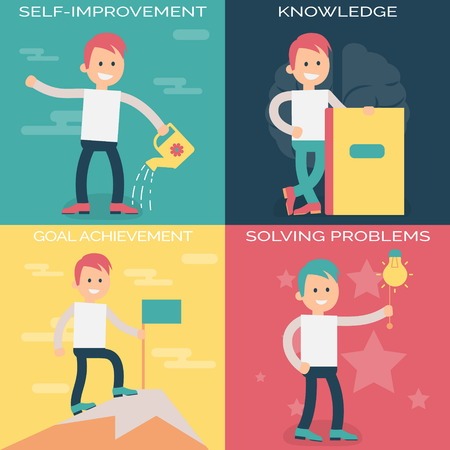 achieving: Psychology terms illustrations for self-improvement and personal growth. Person working over personal growth and improvement, gaining new knowledge, solving problems and achieving goals.