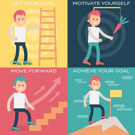 strong growth: Psychology terms illustrations for self-improvement and personal growth. Person working over personal growth and improvement with strong motivation and achieving goals.