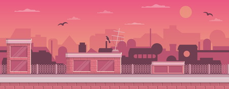 scroller: Seamless layered parallax ready runner shooter game cityline background scene. Urban environment, roofs, buildings and other elements. Illustration