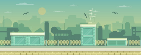 side effect: Seamless layered parallax ready runner shooter game cityline background scene. Urban environment, roofs, buildings and other elements. Illustration
