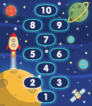 Lovely children activity play placemat rug for hopscotch game with outer space background, lonely planets, stars, space ships and satellite.