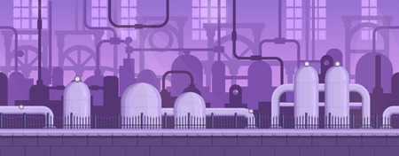 scroller: Seamless layered parallax ready runner shooter game industrial background scene. Factory environment, machinery equipment and other elements. Illustration