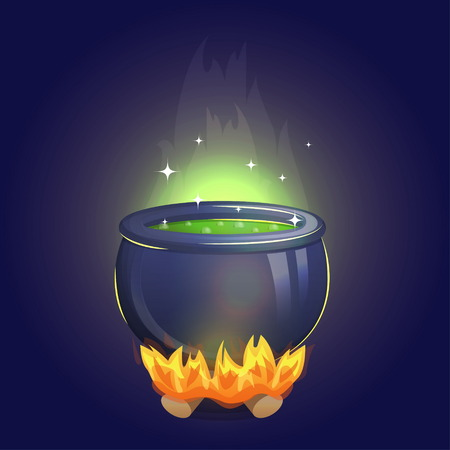 magic cauldron: Magic witch alchemy cauldron on fire with poisonous boiling potion inside. Brew a magic potion illustration for holiday and event decoration.