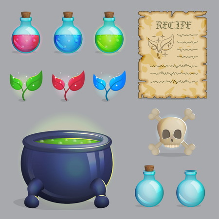 scull: Collection of items to brew a magic potion. Witch accessories for making health, manna and other elixirs, cauldron, magic ingredients, ancient recipe, containers and scull. Game and app ui icons