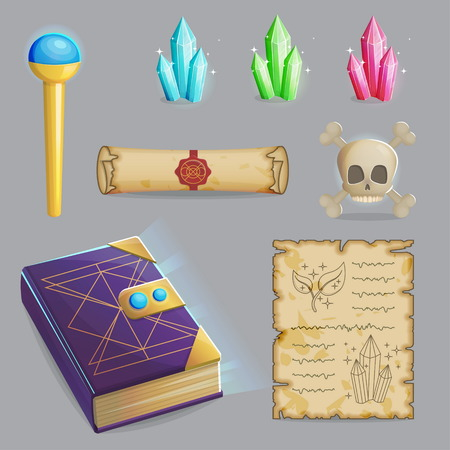 scull: Collection of items to cast a magic spell. Wizard accessories for making magical tricks, ancient book of dead shadows, witch wand, shiny gemstones, scull and sealed manuscript. Game and app ui icons. Illustration