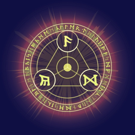 Mysterious pagan magic ritual rings with Celtic runic symbols. Visualization of casting magic spell or enchantment, glowing in the dark. Illustration