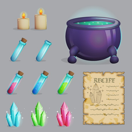 magic potion: Collection of items to brew a magic potion. Witch accessories for making health, manna and other elixirs, cauldron, magic ingredients, ancient recipe, containers and candles. Game and app ui icons