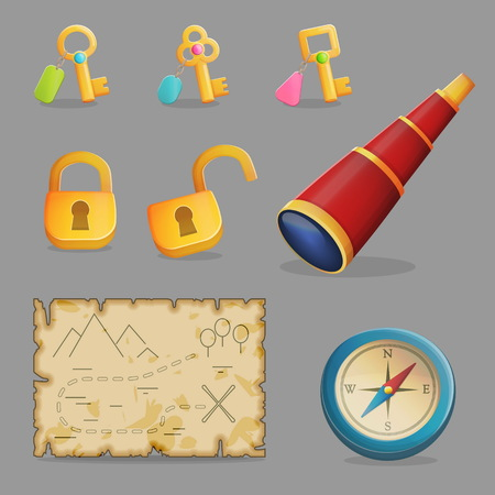 passkey: Collection of items for treasure hunting journey and navigation. Accessories for treasure hunting journey, ancient map, compass, spyglass a collection of key and padlocks. Game and app ui icons.