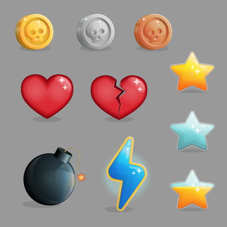 Collection of items game user interface design. Common icons for energy resources, life and experience, achievements and other. Game and app ui icons.