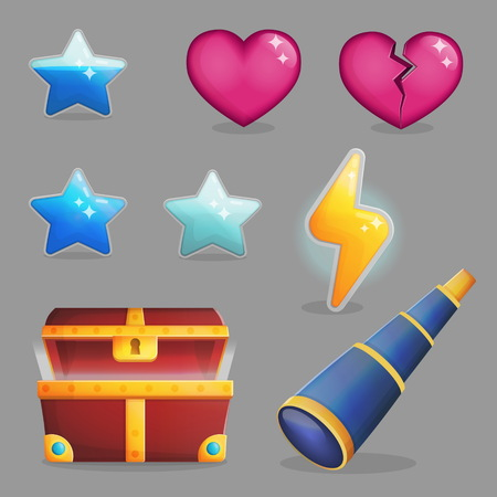 Collection of user rewards inside of a treasure chest. Life and experience icons, game achievements, opened treasure chest and coins. Game and app ui icons.
