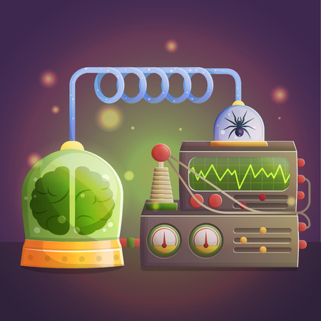play poison: Illustration of a mad evil professor human experiment laboratory elements. Canned brain and spider, experimental lab equipment for data processing.