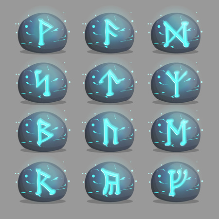 quest: A collection of magical runic stones with Celtic mysterious signs and letters shining inside of them. Design elements and icons for quest and adventure games and applications.