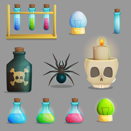play poison: A collection of items for mad evil professor human experiment laboratory design. Test tubes, poison bottle, lab equipment, spider and other spooky elements for game and app design.