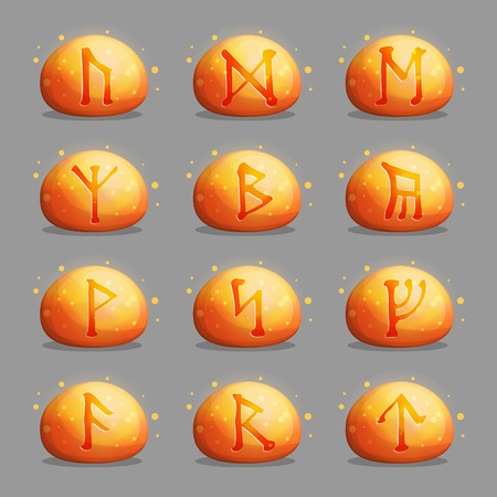 rune: A collection of magical runic stones with Celtic mysterious signs and letters shining inside of them. Design elements and icons for quest and adventure games and applications.