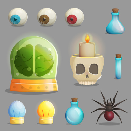 play poison: A collection of items for mad evil professor human experiment laboratory design. Canned brain, human eyeballs, scull chandelier and other spooky elements for game and app design. Stock Photo