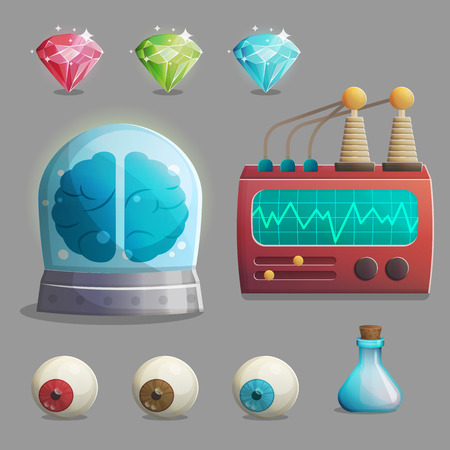 play poison: A collection of items for mad evil professor human experiment laboratory design. Canned brain, human eyeballs, lab equipment, gemstones and other spooky elements for game and app design.