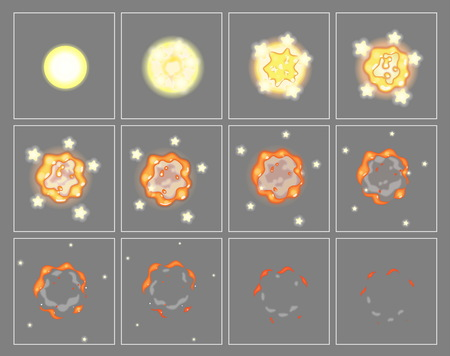 storyboard: Fire explosion special effect fx animation frames sprite sheet. Fireball explosion frames for flash animation in games, video and cartoon.