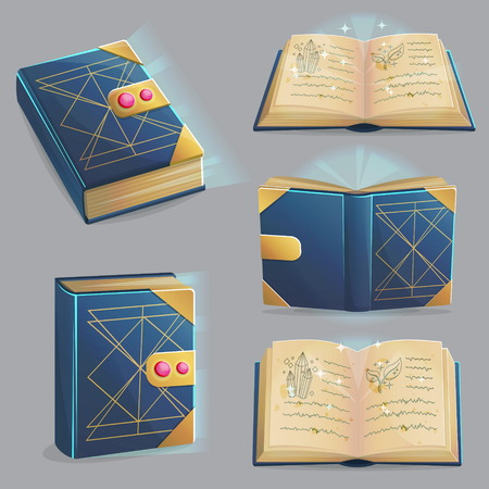 Ancient magic book with alchemy recipes and mystic spells and enchantments, dusty old pages and mysterious cover, different positions, front, back, open, closed. Game, graphic and app design elements. Illustration