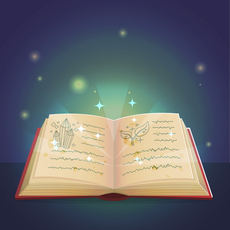 enchantment: Ancient magic book with alchemy recipes and mystic spells and enchantments, dusty old pages and mysterious cover. Spooky holiday decoration and illustration. Illustration