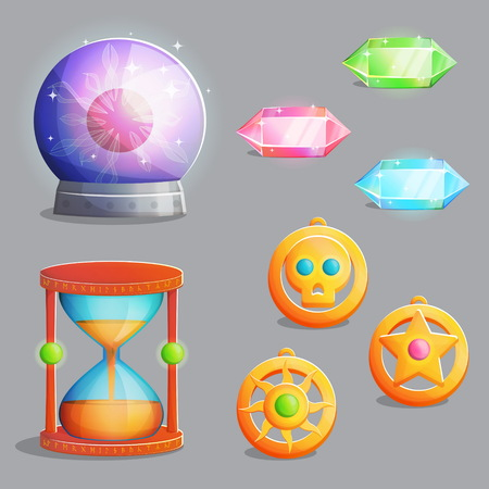 Une collection d'articles pour l'équipement de sorcellerie magique. Pierres gemmes en cristal et amulettes pendantes, sablier antique et sphère magique avec éclairs, éléments effrayants pour le design de jeux et d'applications.