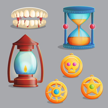 pendant lamp: A collection of items for magic witch equipment set. Vampire teeth and pendant amulets, ancient lantern and hourglass, spooky elements for game and app design. Illustration