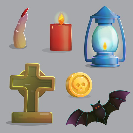 spooky graveyard: A collection of items spooky graveyard items and design elements for game and app design. Gravestone, ancient lantern, vampire bat, zombie finger and other.