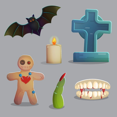 spooky graveyard: A collection of items spooky graveyard items and design elements for game and app design. Gravestone, voodoo doll with needles, vampire bat, zombie finger and other.