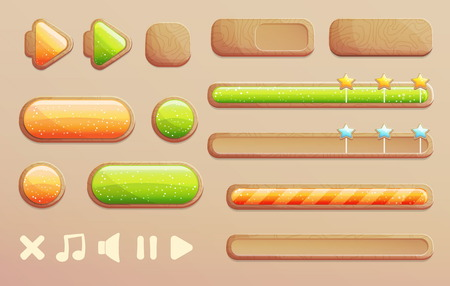 shiny buttons: A set of cartoon wooden buttons, progress bars and icons with shiny glass elements for game and app design. Different shapes and arrows. Illustration