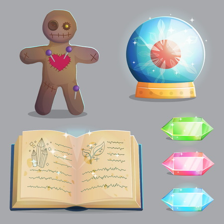 A collection of items for magic witch equipment set. Crystal gemstones and voodoo doll, ancient book of shadows and magic sphere with lightning, spooky elements for game and app design. Illustration