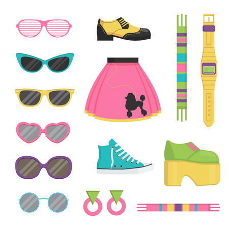 Collection of vintage retro style items that symbolize various decade fashion accessories, style outfits and trendy items.