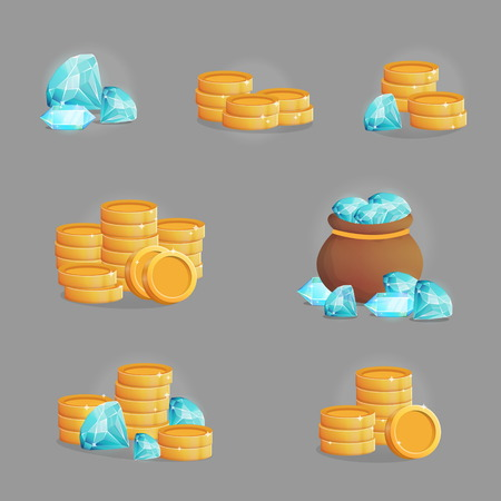 A collection of shiny magic precious gemstones and golden coins. Various stacks of riches and trophies. Game and app ui icons, decoration and design elements. Vectores