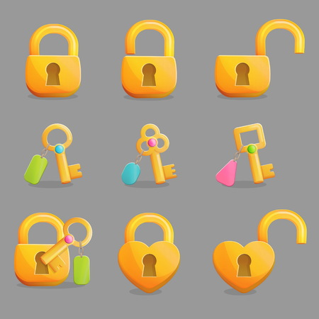 padlocks: Collection of golden padlocks in various shapes and states. Open, unlocked and lockd and golden skeleton keys with charms. Game and app ui icons, decoration and design elements.
