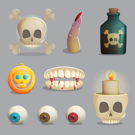 play poison: A collection of scull based items and other human body parts, golden pendant, lantern and other spooky elements for game and app design.